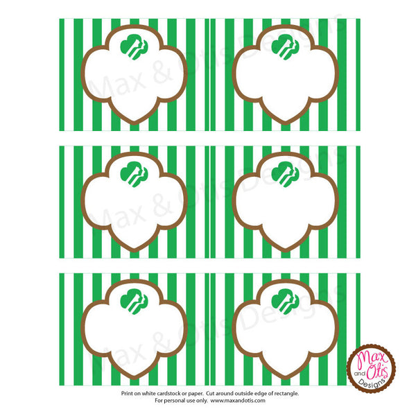 Girl Scout Printable Rectangle Tags - Brownie (editable PDF) - Max & Otis Designs
