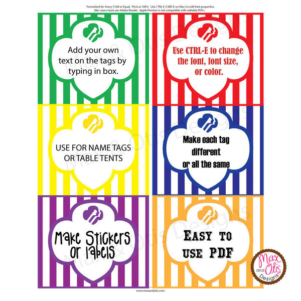 Girl Scout Printable Rectangle Tags - Rainbow (editable PDF) - Max & Otis Designs