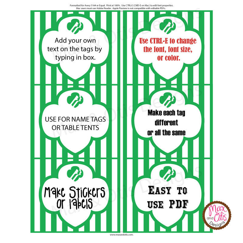Girl Scout Printable Rectangle Tags - Green (editable PDF) - Max & Otis Designs