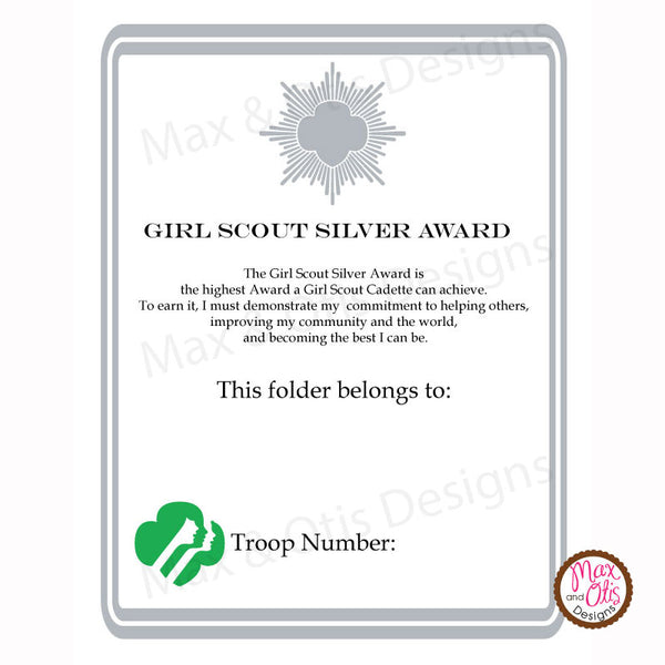 Girl Scout Cadette Printable Silver Award Folder Cover (editable PDF) - Max & Otis Designs