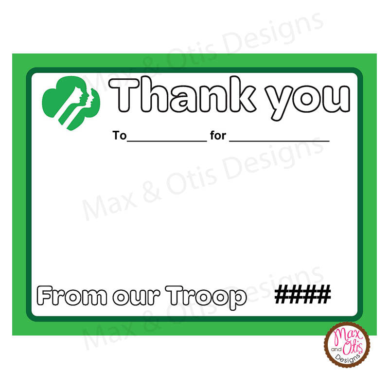 Girl Scout Thank You Card Printable Editable Pdf Max