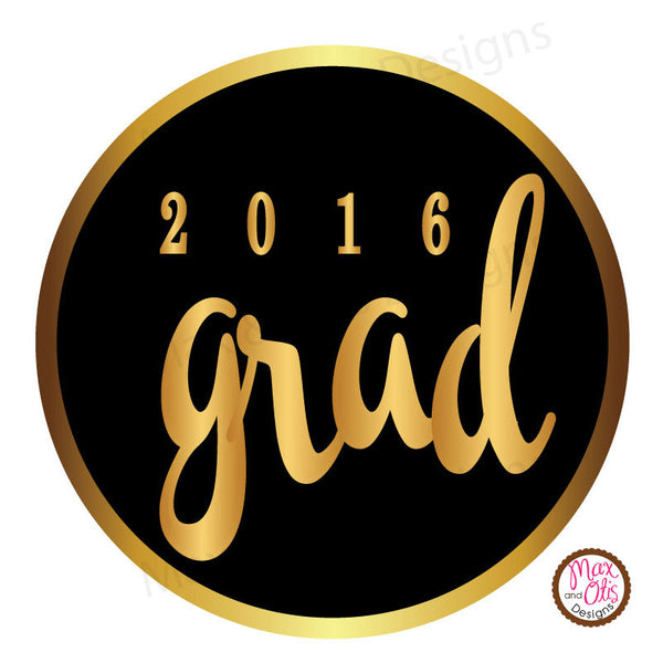 "Printable 1.5"" Tags & Labels - Graduation Black & Gold (Editable PDF) - Max & Otis Designs"