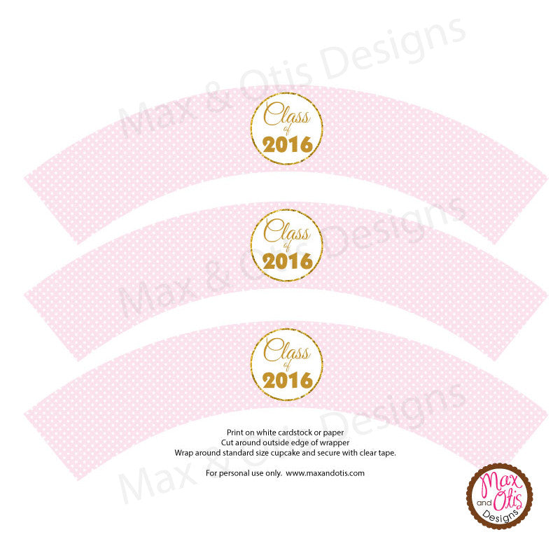 Printable Cupcake Wrappers - Graduation Pink Dot (editable PDF) - Max & Otis Designs