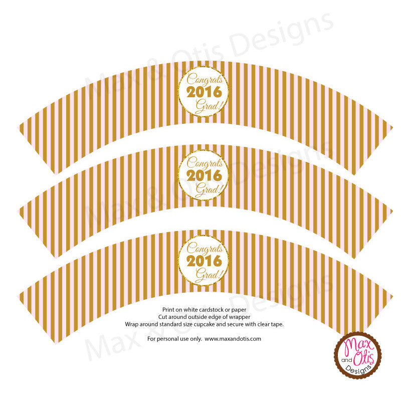 Printable Cupcake Wrappers - Graduation Pink Gold Stripe ...