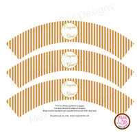 Printable Cupcake Wrappers - Graduation Pink Gold Stripe (editable PDF) - Max & Otis Designs