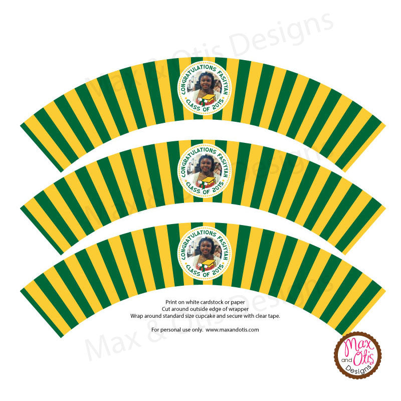 Printable Cupcake Wrappers - Photo Wrapper Green & Yellow - Max & Otis Designs