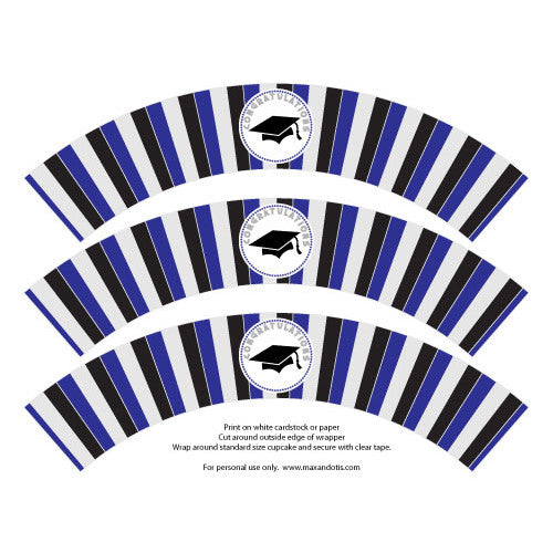Printable Cupcake Wrappers - Graduation Blue & Silver