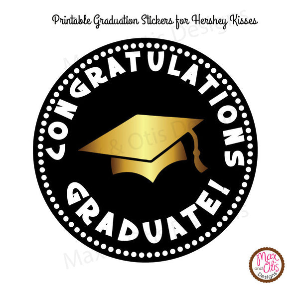 graphic regarding Free Printable Graduation Labels identify Printable Hershey Kiss Stickers - Commencement