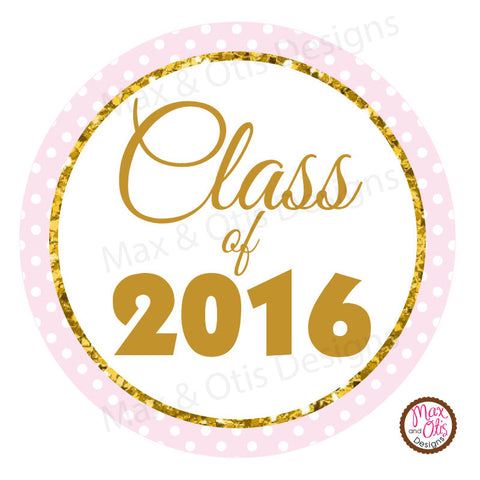 "Printable 2"" Tags & Labels - Graduation Pink & White (Editable PDF) - Max & Otis Designs"