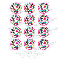 "Printable 2"" Tags & Labels - Hello Kitty Pool Party (Assorted colors) - Max & Otis Designs"