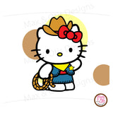 Printable Cupcake Wrappers - Hello Kitty Cowboy