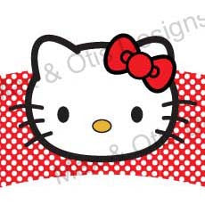 Printable Cupcake Wrappers - Hello Kitty Face (Assorted Colors)