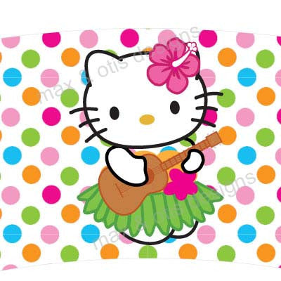 Printable Cupcake Wrappers - Hello Kitty Hula (Assorted Colors)