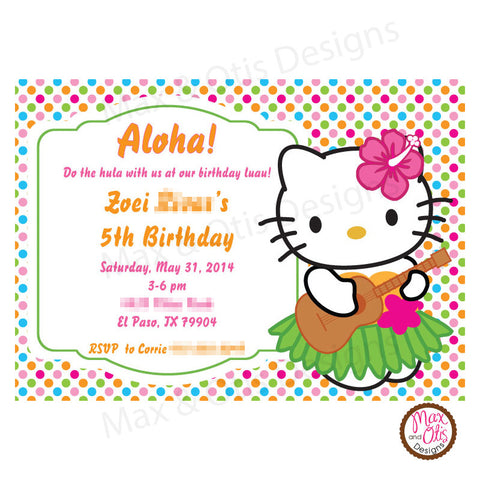 Hello Kitty Hula Luau Party - Bright Dot - Custom Invitation printable - Max & Otis Designs