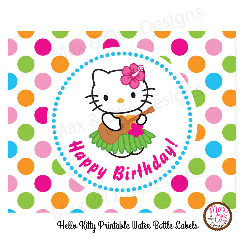 photo relating to Printable Water Bottle Labels identified as Printable Drinking water Bottle Wrappers - Hello there Kitty Hula