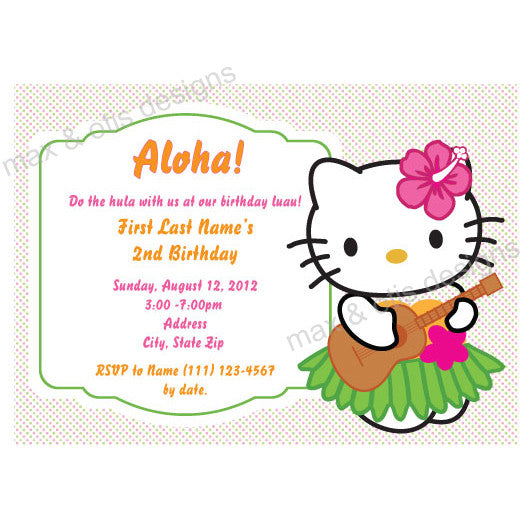Hello Kitty Hula Luau Party - Pastel Dot - Custom Invitation printable - Max & Otis Designs