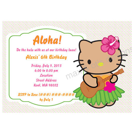 Hello Kitty Hula Luau Party - Tanned Kitty - Custom Invitation printable - Max & Otis Designs