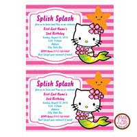 Hello Kitty Mermaid Party -Pink - Custom Invitation printable - Max & Otis Designs