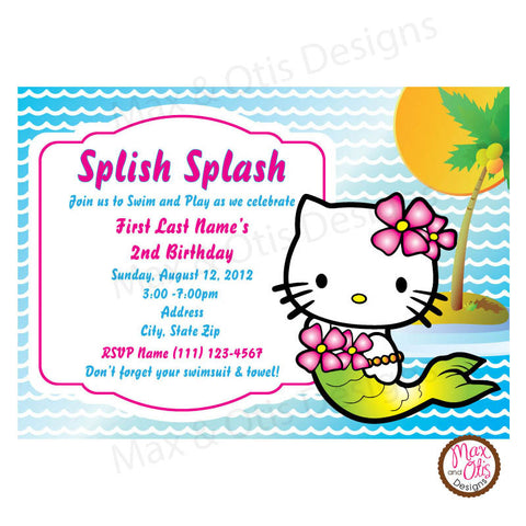 Hello Kitty Mermaid Party -Blue - Custom Invitation printable - Max & Otis Designs