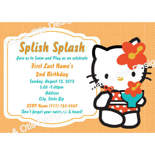 Hello Kitty Pool Party -Orange - Custom Invitation printable - Max & Otis Designs