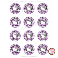 "Printable 2"" Tags & Labels - Hello Kitty Tiara (Editable PDF) - Max & Otis Designs"