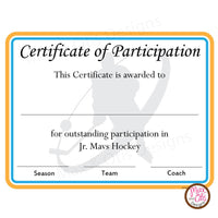 Hockey Certificate of Participation (Editable PDF) - Max & Otis Designs