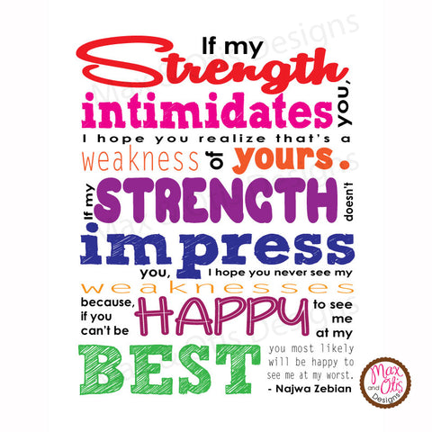 Printable Sign - If my strength intimidates you - FREEBIE