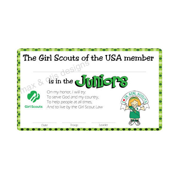 Girl Scout Junior Printable Membership Cards (editable PDF) - Max & Otis Designs