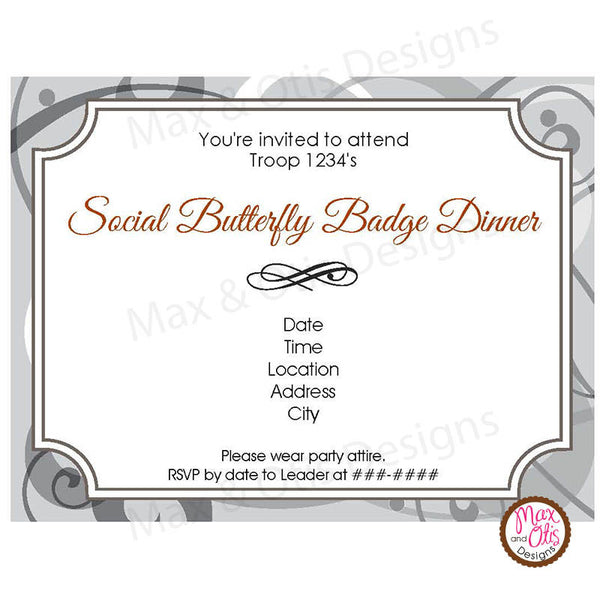 Girl Scout Junior Social Butterfly Invitation (editable PDF) - Max & Otis Designs