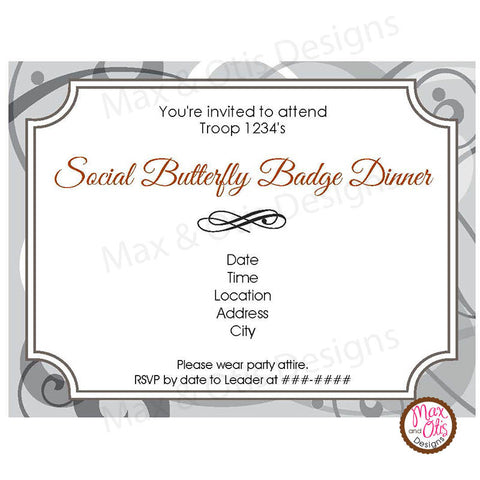 Girl Scout Junior Social Butterfly Invitation (editable PDF)