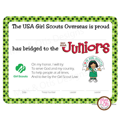 Girl Scout Junior Printable Bridging Certificate Overseas (editable PDF)