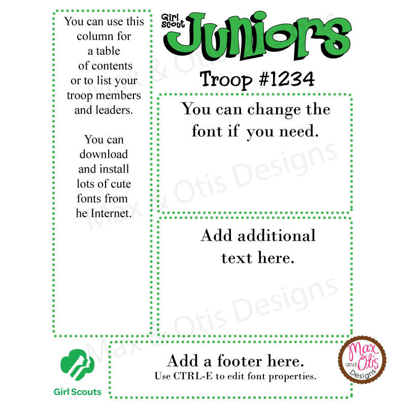 Girl Scout Junior Printable Newsletter Template
