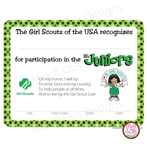 Girl scout juniors max otis designs for Girl scout award certificate templates