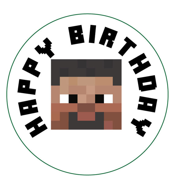 "Printable 2"" Tags & Labels - Minecraft Happy Birthday"