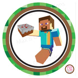 "Printable 2"" Tags & Labels - Minecraft Birthday Steve (Editable PDF) - Max & Otis Designs"