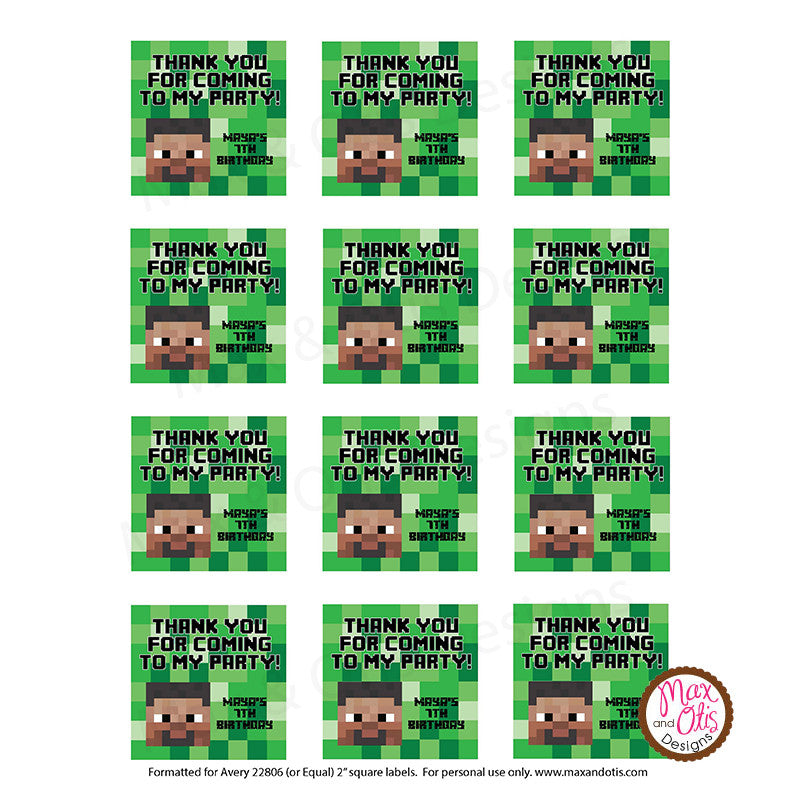 Printable 2 Quot Tags Amp Labels Minecraft Steve Thank You