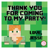 "Printable 4"" Tags & Labels - Minecraft Alex Thank You (Editable PDF) - Max & Otis Designs"