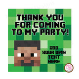 "Printable 2"" Tags & Labels - Minecraft Steve Thank You (Editable PDF)"