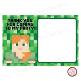 Printable Thank You Card - Minecraft Alex (editable PDF)