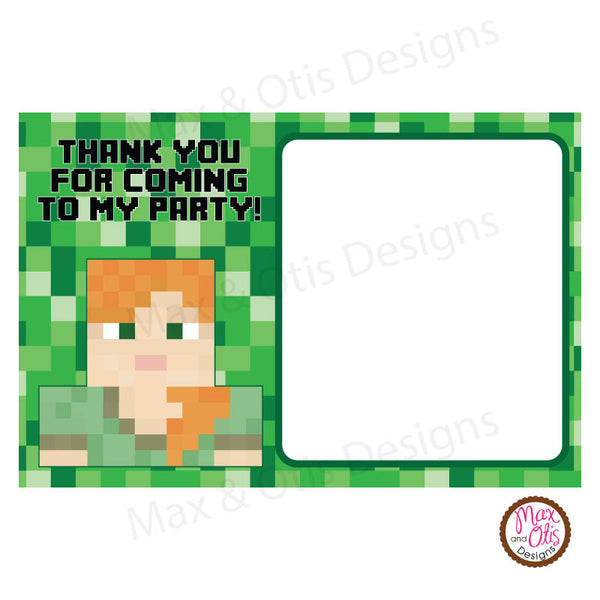 Printable Thank You Card - Minecraft Alex (editable PDF) - Max & Otis Designs