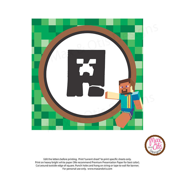 graphic about Minecraft Printable Pictures called Minecraft Printable Alphabet Banner - Editable PDF