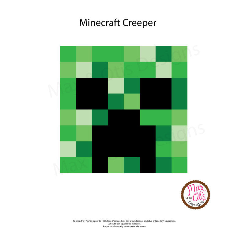 It is an image of Crush Minecraft Creeper Face Printable