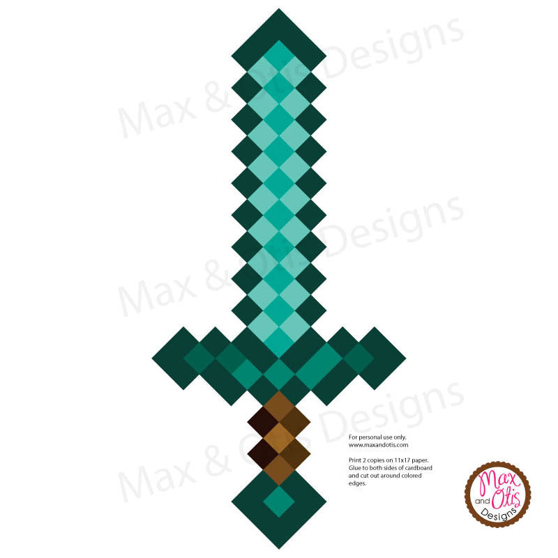 Minecraft Diamond Sword Printable - Max & Otis Designs