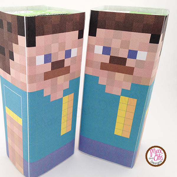 Printable Juice Box Wrappers - Minecraft Steve - Max & Otis Designs