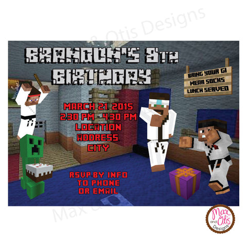 Minecraft Martial Arts Party - Custom Invitation printable - Max & Otis Designs