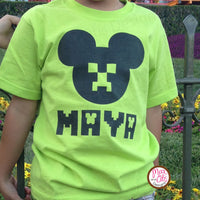 Printable Iron-On Transfer - Mickey Mouse Minecraft Creeper (Editable PDF)