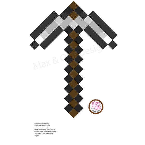 Minecraft Pickaxe Printable - Max & Otis Designs