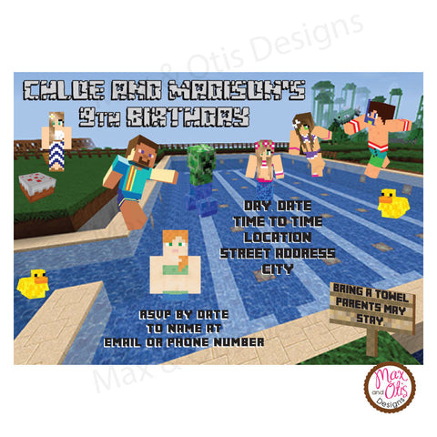 Minecraft Pool Party (Co-ed) - Custom Invitation printable - Max & Otis Designs