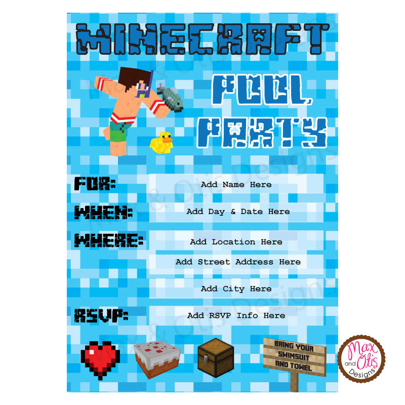 Minecraft Pool Party Invitation (editable PDF) – Max & Otis Designs