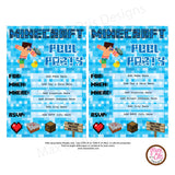 Minecraft Pool Party Invitation (editable PDF) - Max & Otis Designs
